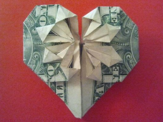 be mine origami dollar heart with star my folds